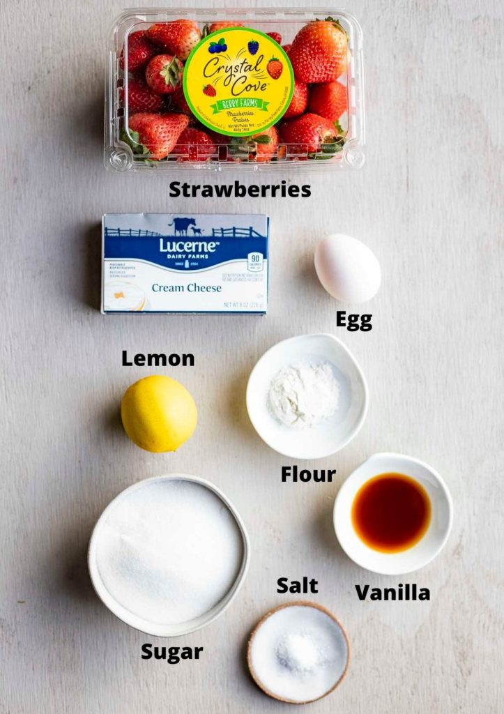 ingredients for strawberry cheesecake filling