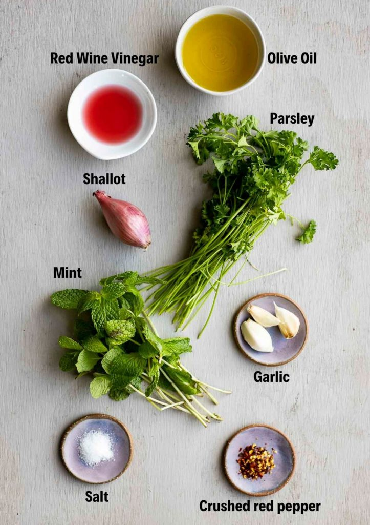 ingredients for mint chimichurri