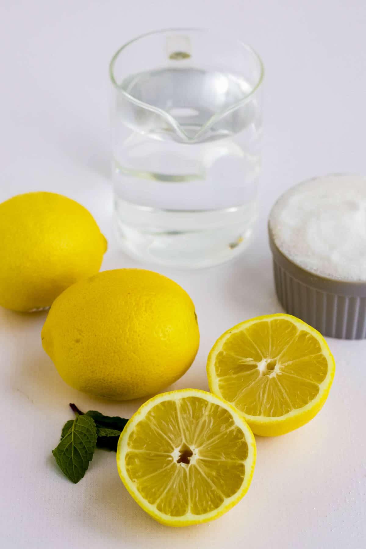 Ingredients needed to make lemonade popsicles.