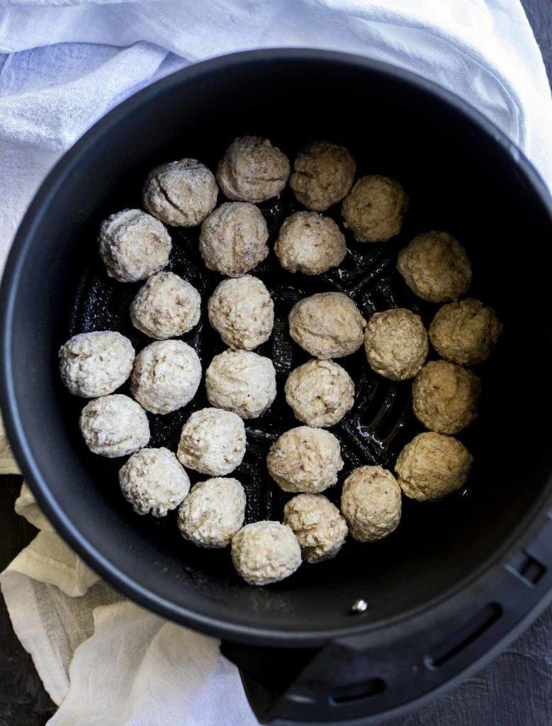 frozen meatballs in a pot
