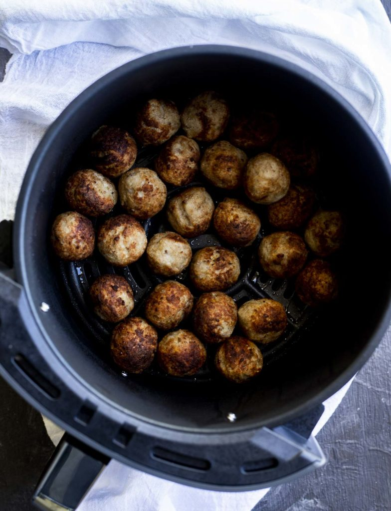 cooked meatballs in a pot