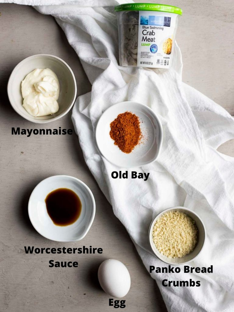 Overhead photo of ingredients needed to make air fryer crab cakes.