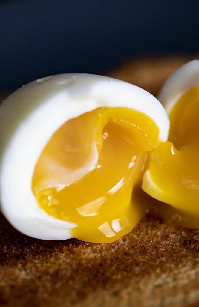 the inside of a soft boiled egg