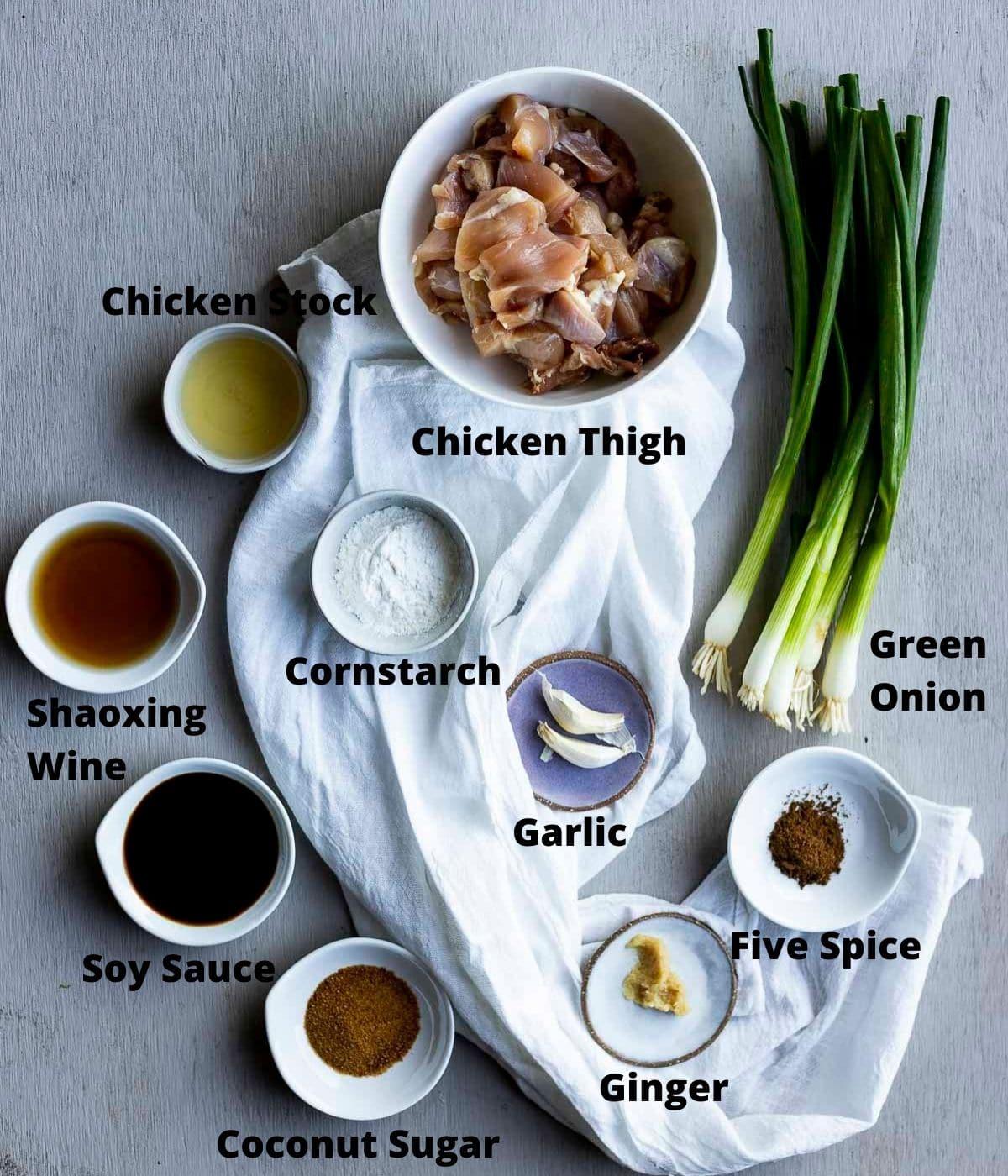 Ingredients needed to make shanghai chicken.
