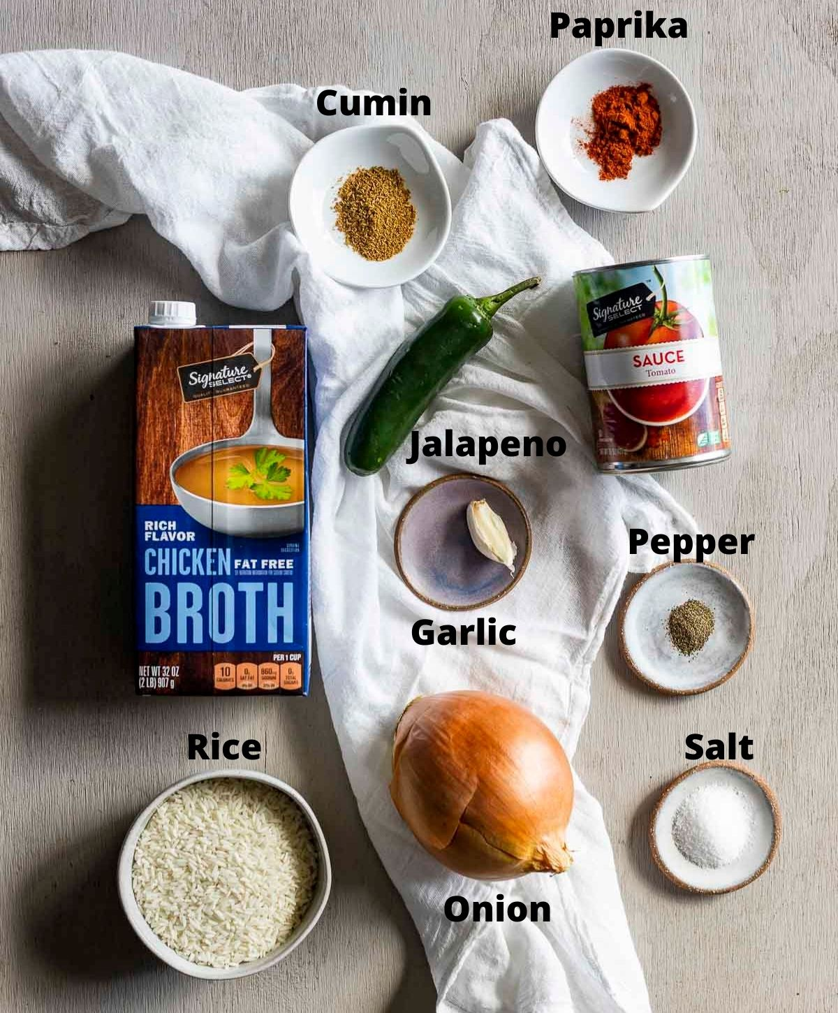 Overhead image of ingredients needed to Instant Pot Spanish Rice.