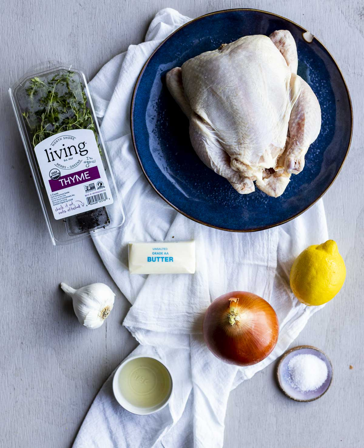 Overhead view of ingredients needed to make a whole chicken in the sous vide.