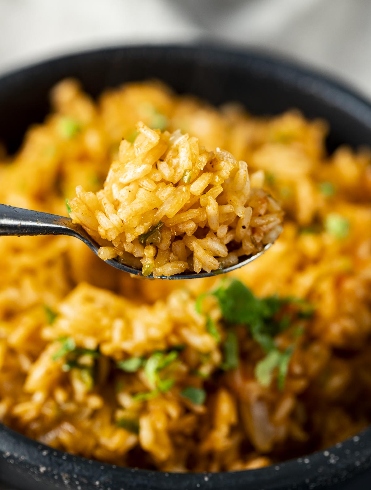 A close up of a spoonful of Spanish rice.