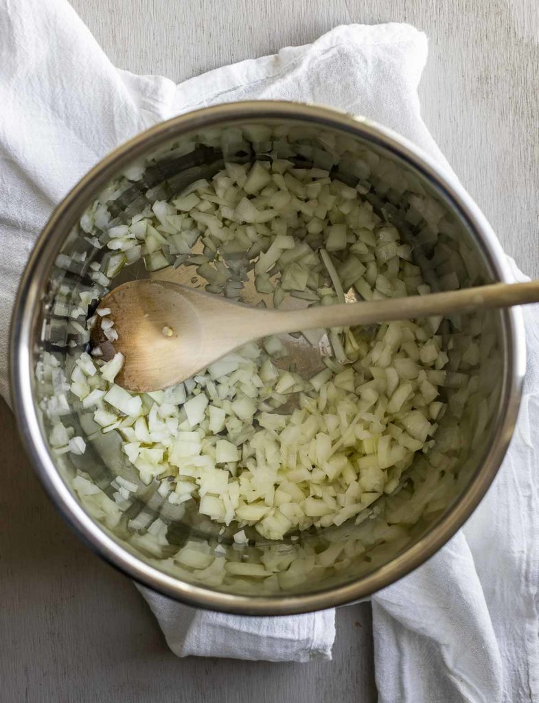 Diced onions in a IP liner.