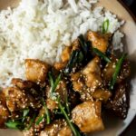 Close up of a plate with rice, shanghai chicken, and green onions.