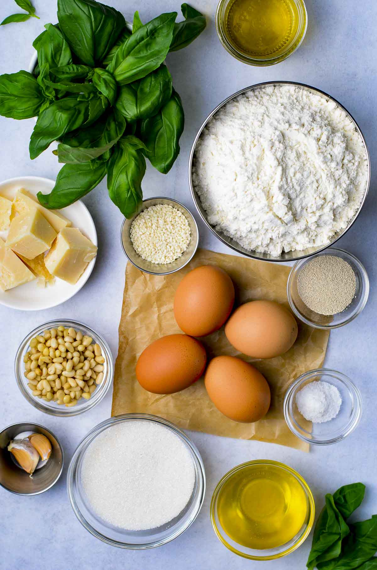 Ingredients needed to make challah bread.
