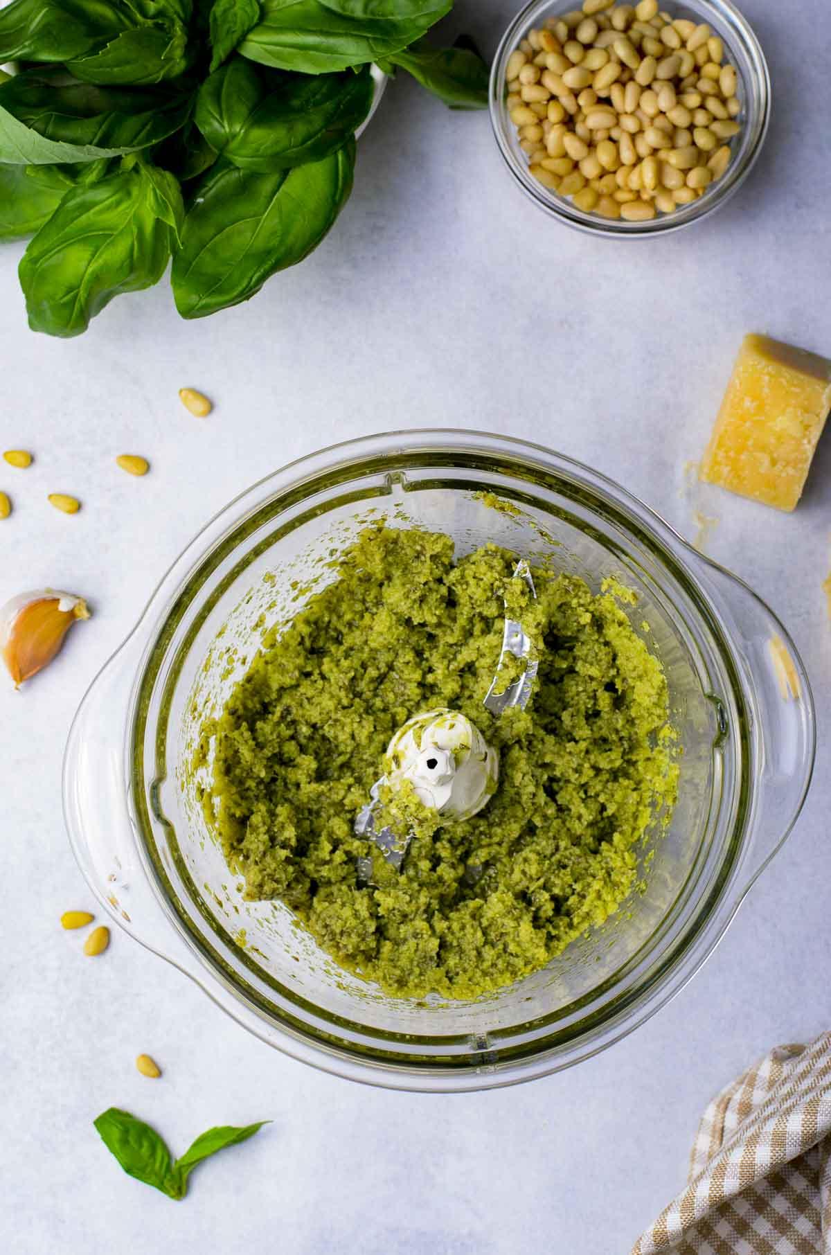 Pesto made in a food processor.