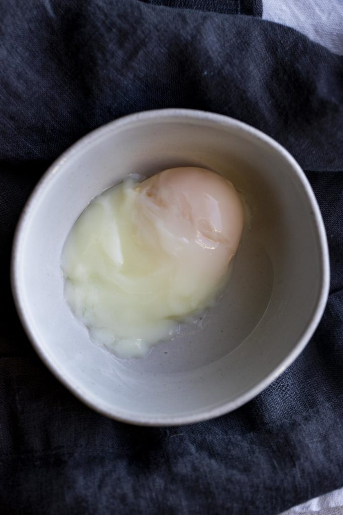 A bowl with a sous vide poached egg.