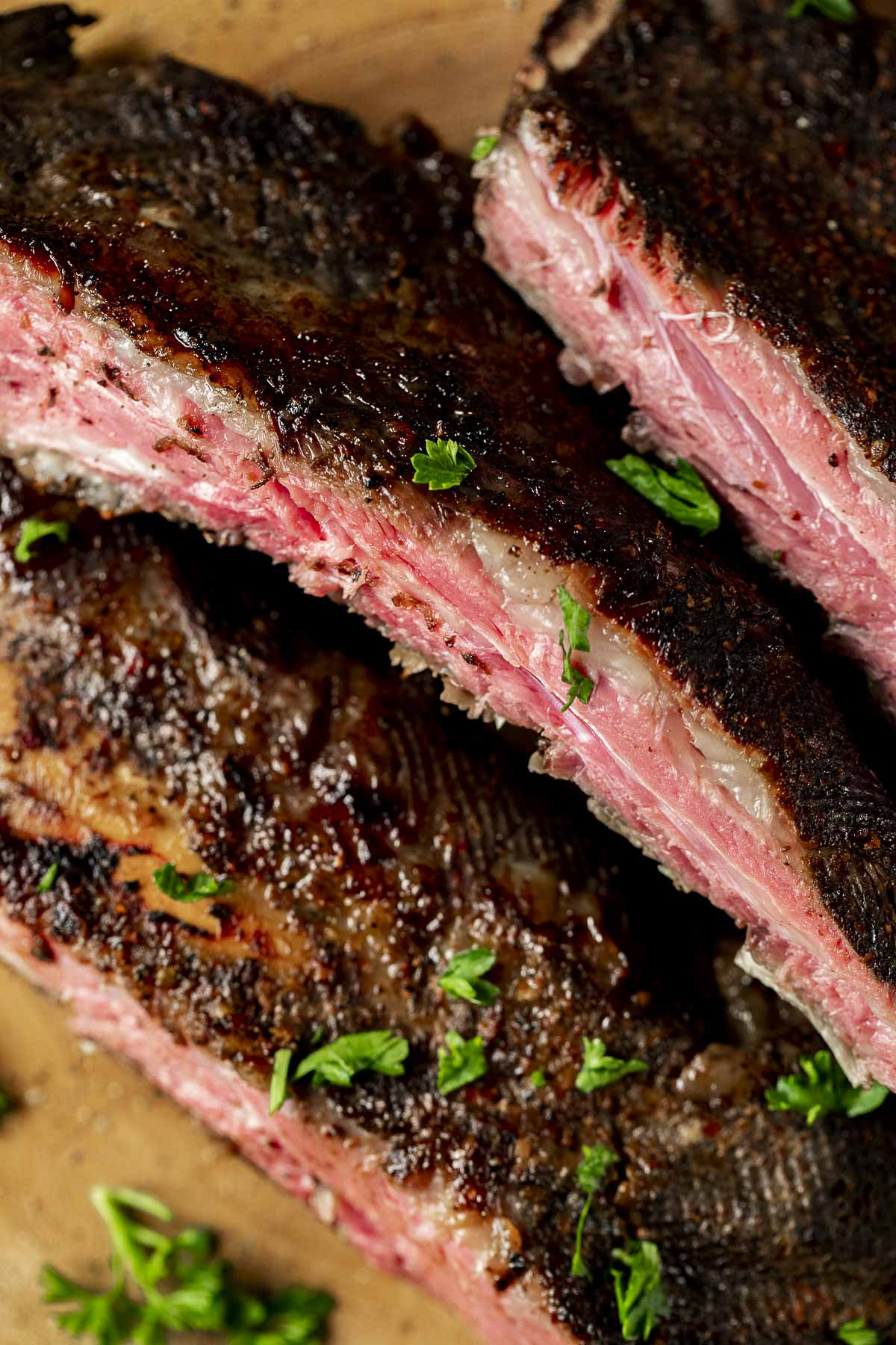 Close up of sliced sous vide beef ribs.