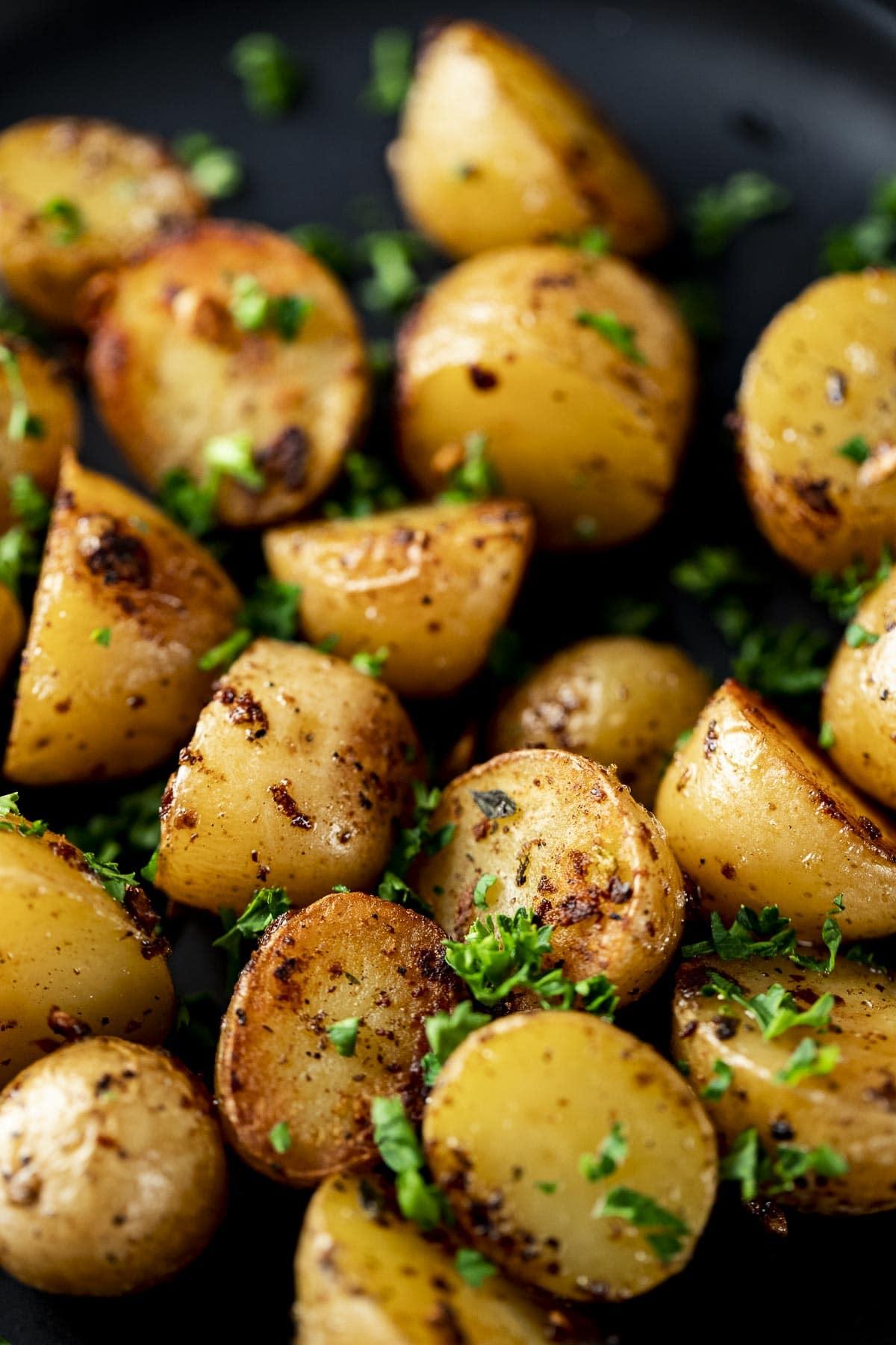 Close up of sous vide mini potatoes.
