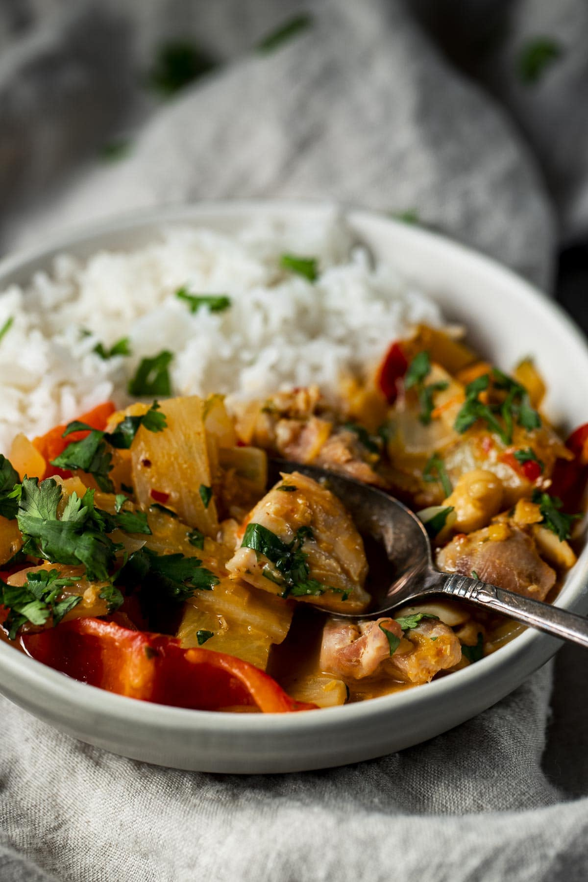 Side view of chicken pineapple curry in a bowl with rice.