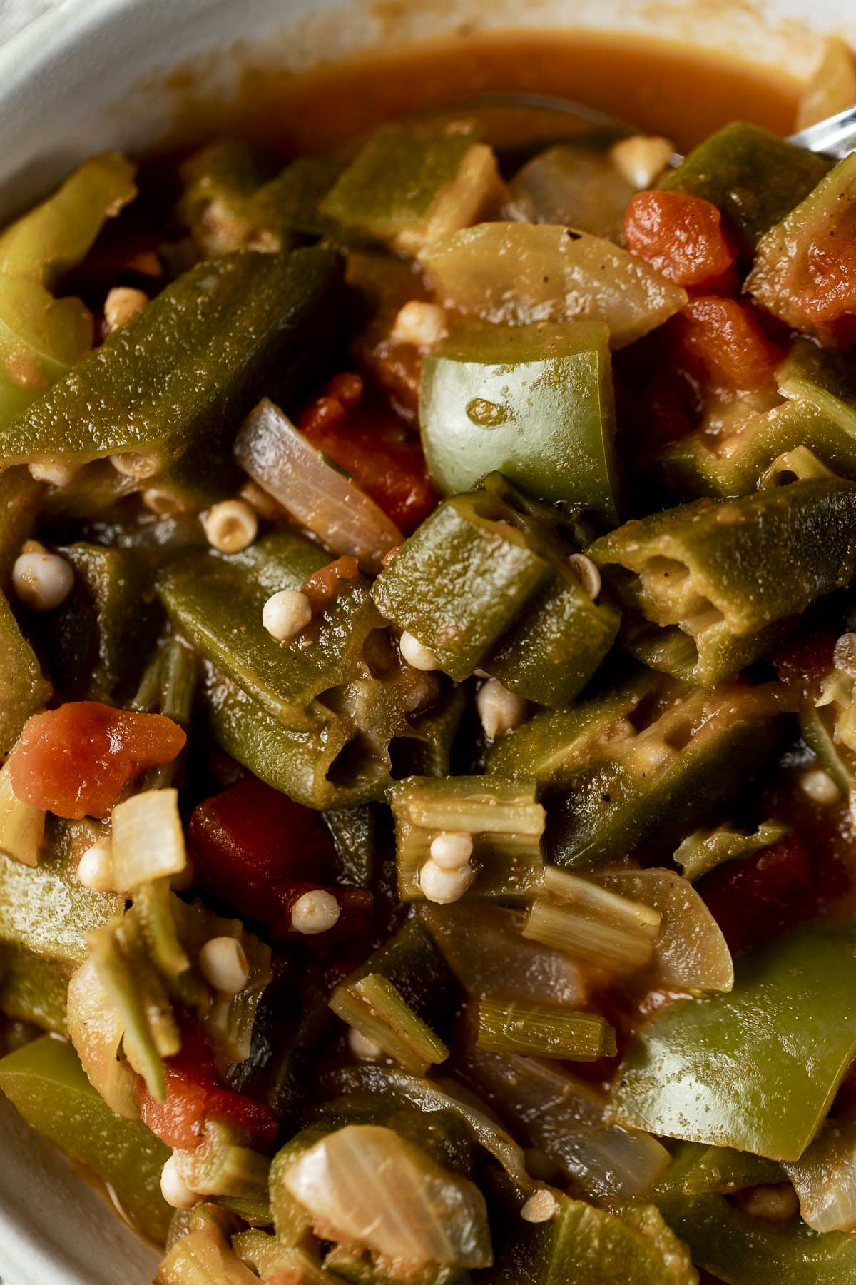 Up close overhead view of smothered okra.