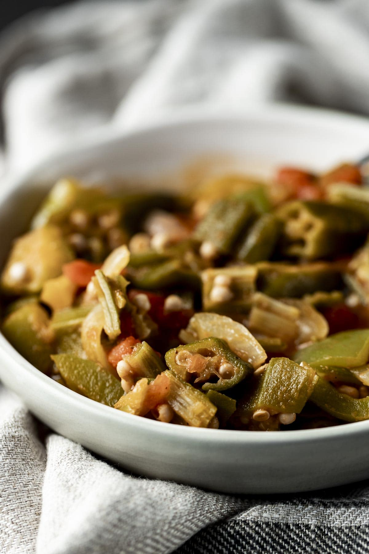 Close up of smothered okra in a bowl.