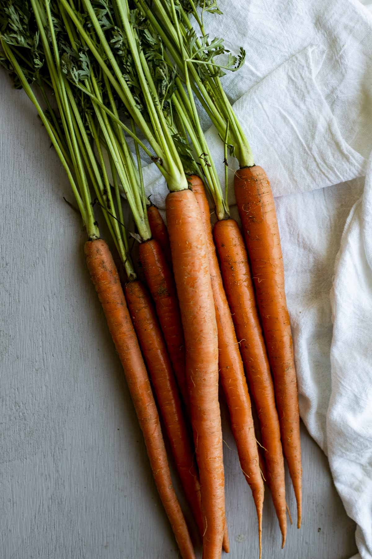 Overhead view of a bunch of raw whole carrots.