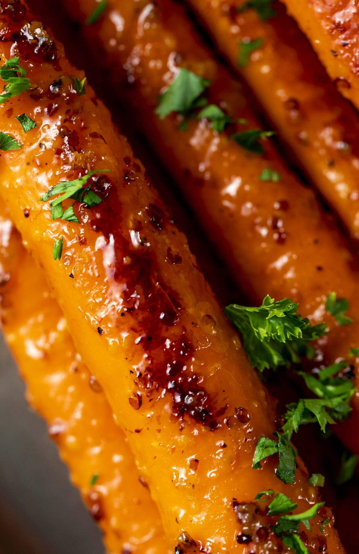 Close up of sous vide carrots with glaze.