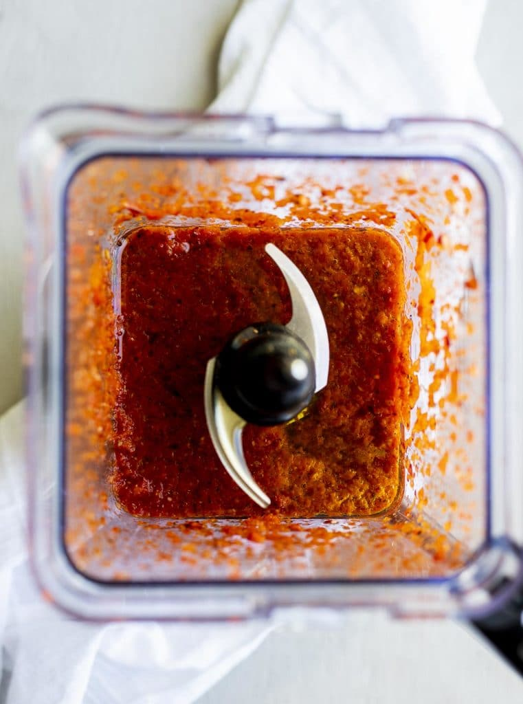 red sauce in a blender