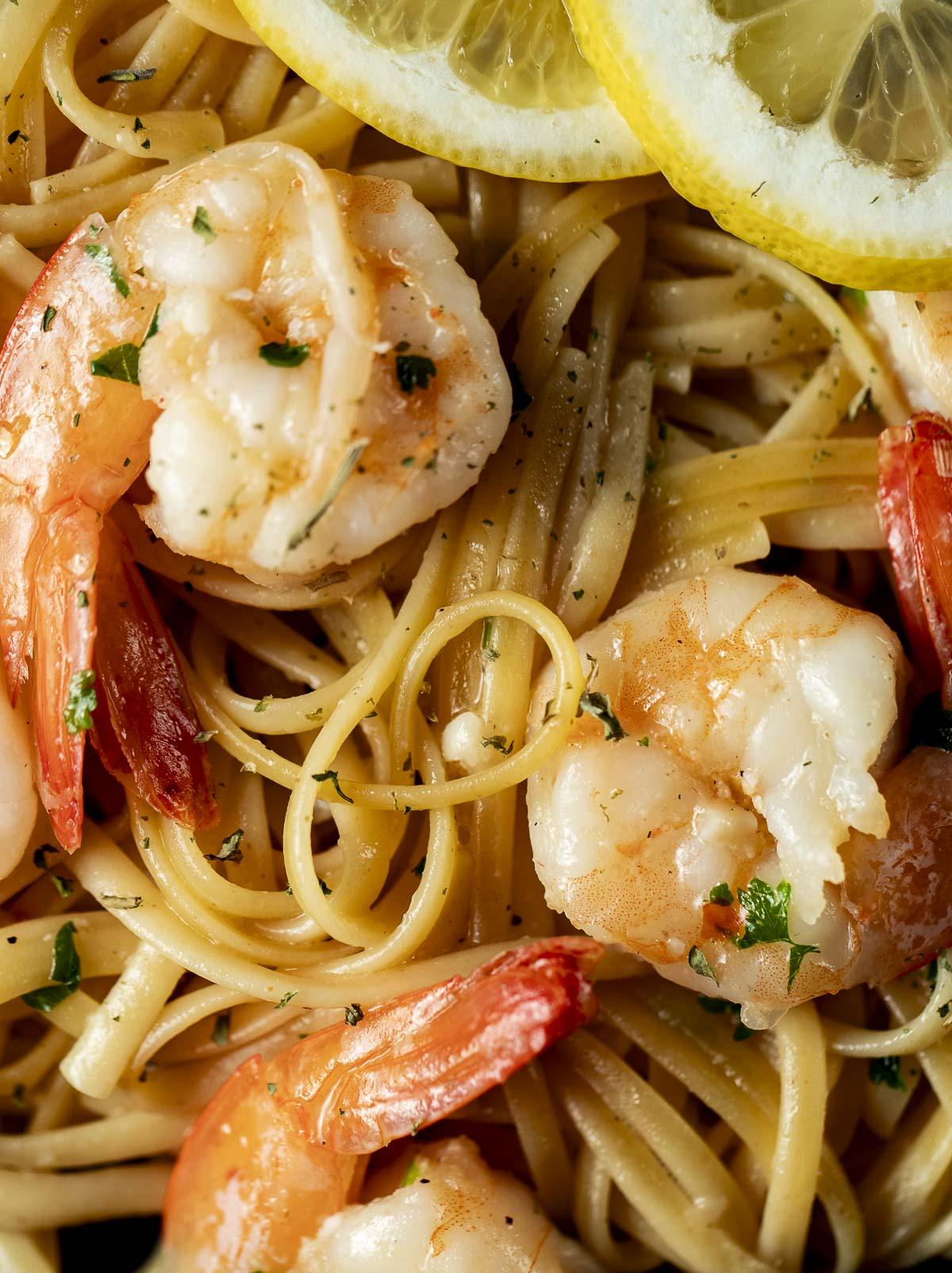 Close up of shrimp and linguine.