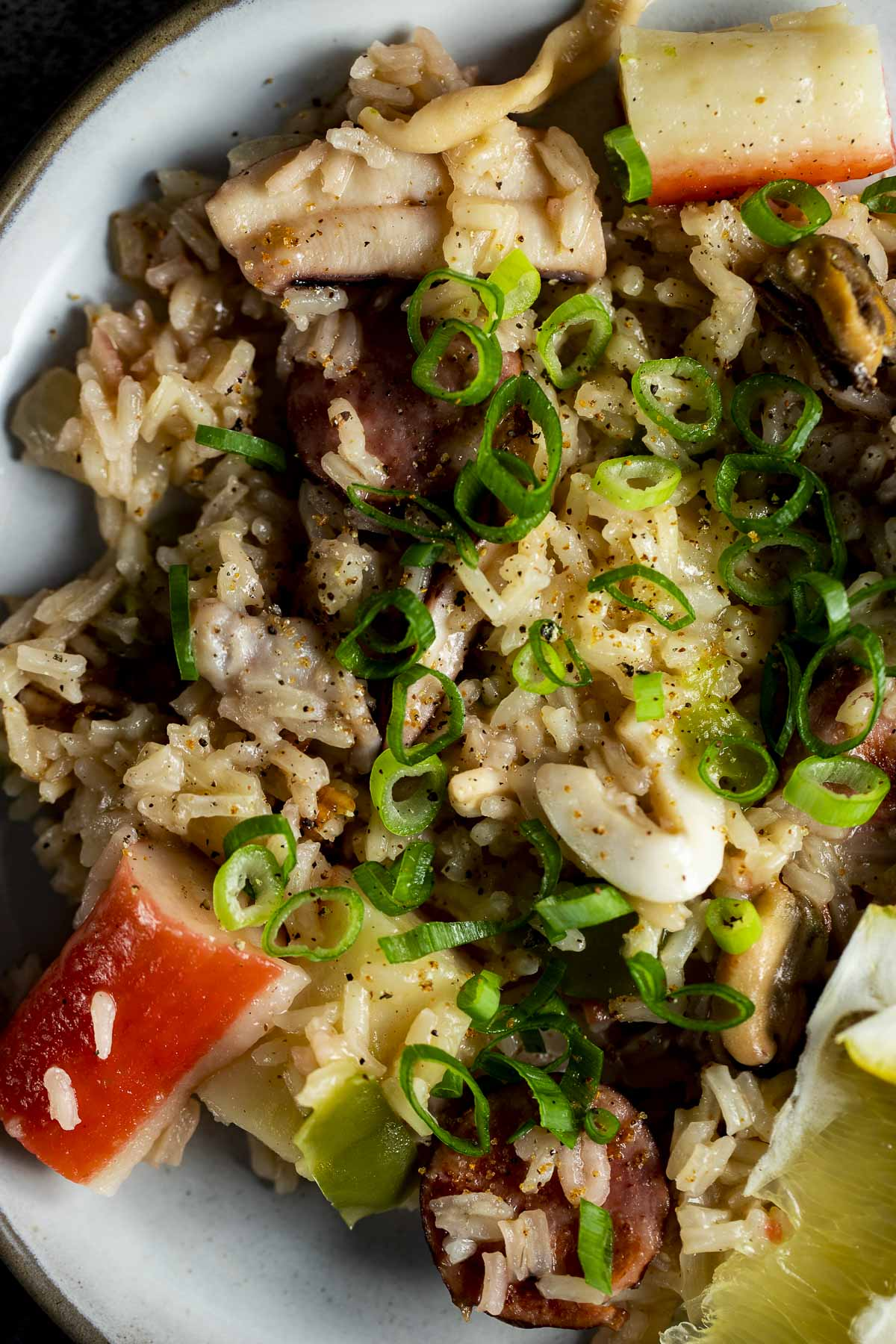 Close up of seafood rice topped with chopped green onion.