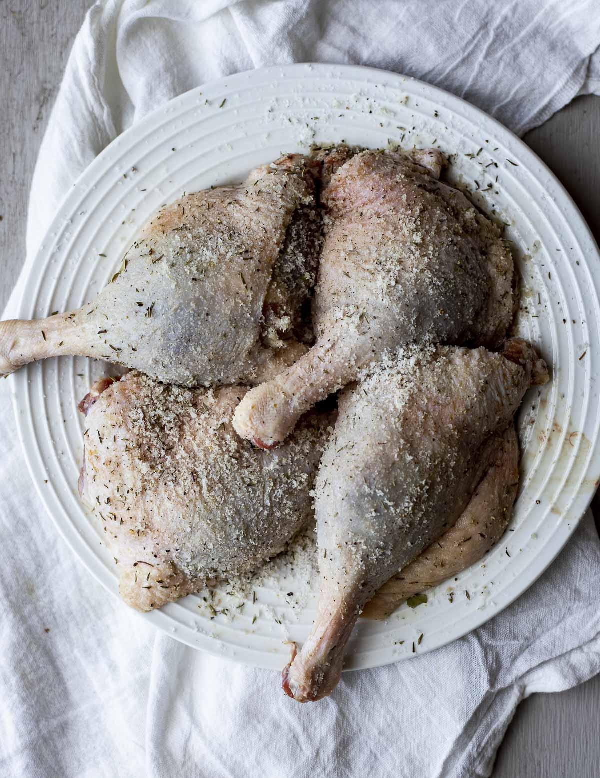 Seasoned duck legs on a white plate.