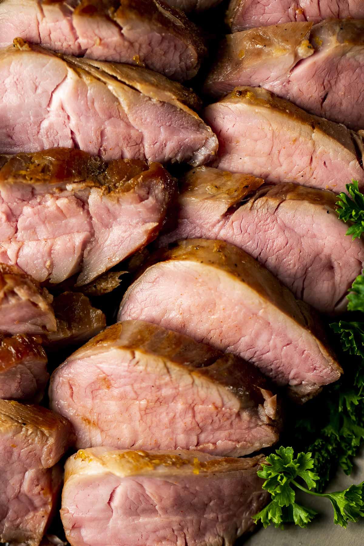 Sous vide pork tenderloin slices.