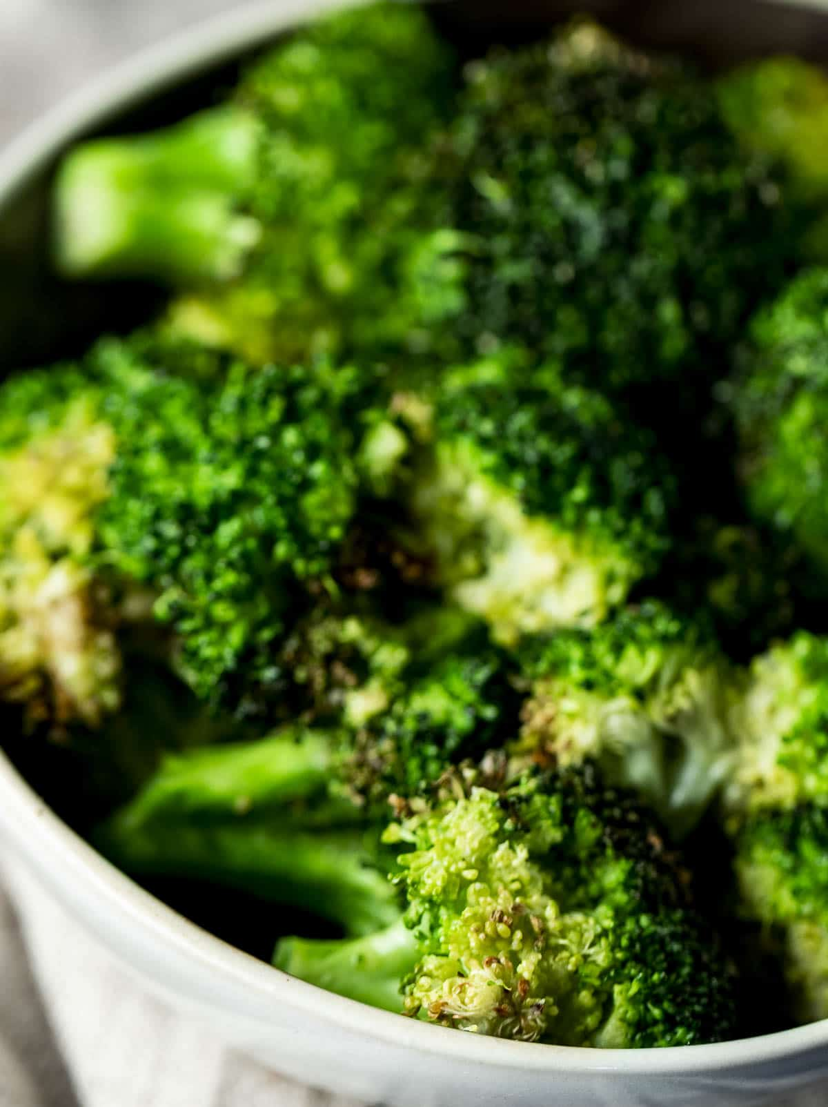 Close up of air fried broccoli.